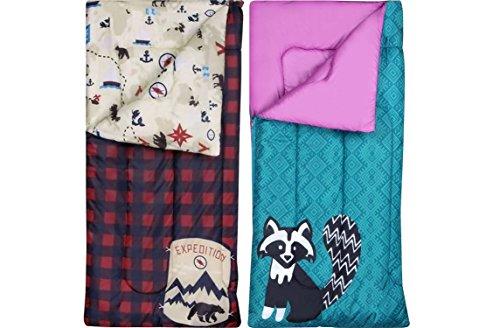 2-Pack - Ozark-Trail Kids Sleeping Bag Camping Indoor Outoor Traveling (Raccoon / Bear) (2-Pack)