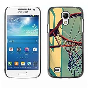Cancha de Baloncesto retro - Metal de aluminio y de plástico duro Caja del teléfono - Negro - Samsung Galaxy S4 Mini i9190 (NOT S4)