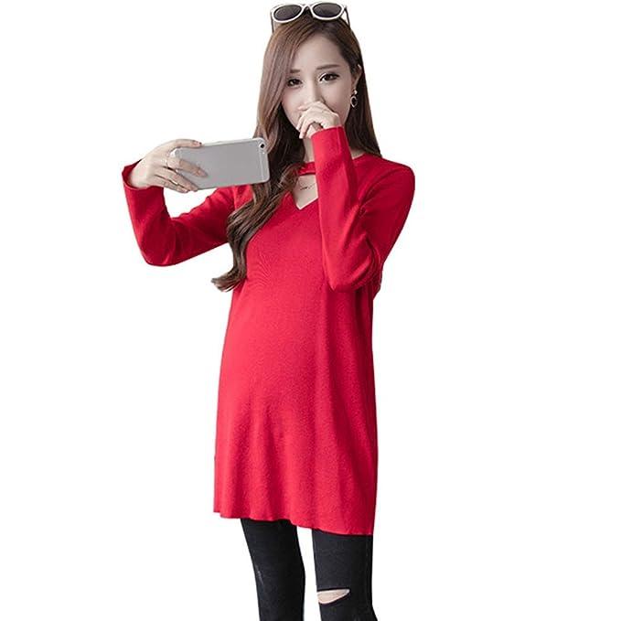HZFF Las mujeres embarazadas en otoño, largas camisas de estilo coreano, Tide madre teje