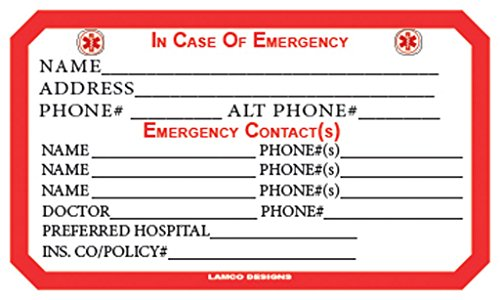 emergency medical and personal information card  2 pack