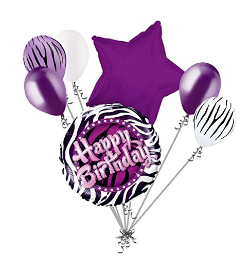 7 pc Purple Zebra Print Happy Birthday Balloon Bouquet Party Decoration Animal ()
