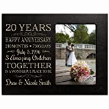 Personalized Twenty year anniversary gift for her him couple Custom Engraved wedding gift for husband wife girlfriend boyfriend photo frame holds 4x6 photo by LifeSong Milestones (black)