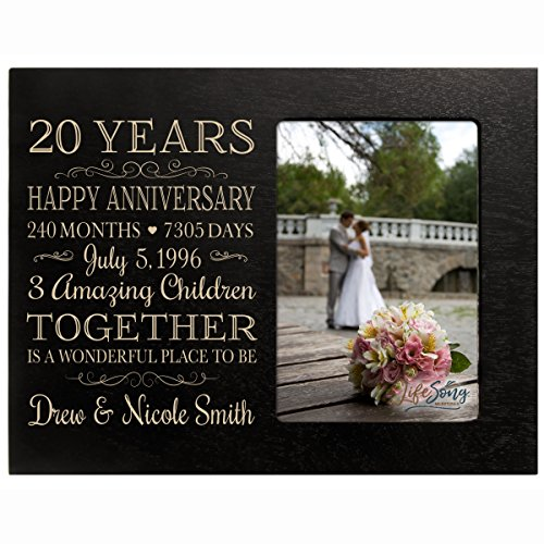 Personalized Twenty year anniversary gift for her him couple Custom Engraved wedding gift for husband wife girlfriend boyfriend photo frame holds 4x6 photo by LifeSong Milestones (black) by LifeSong Milestones