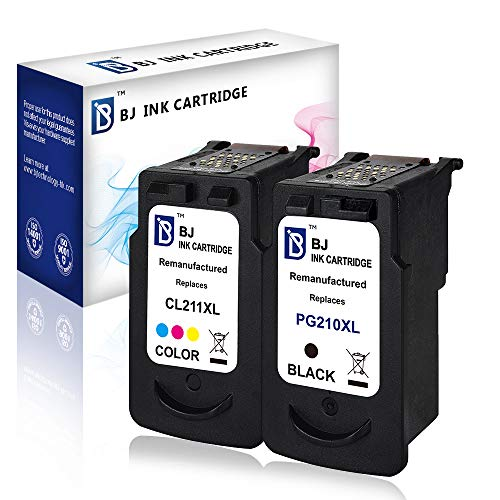 (BJ Remanufactured Ink Cartridge Replacement for Canon PG-210XL CL-211XL (1 Black,1 Color) for Canon PIXMA IP2700 IP2702 MP230 MP240 MP250 MP460 MP480 MP490 MP495 MX320 MX340 MX350 Show Ink Level)