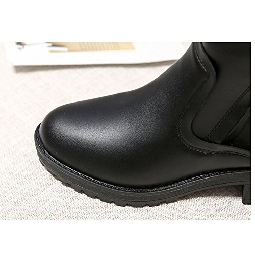 Btrada Womens Winter Warm Zip Martin Boots - Anti Slip Chunky Heel Fur Liners Basic Ankle Booties Black z42tSaT