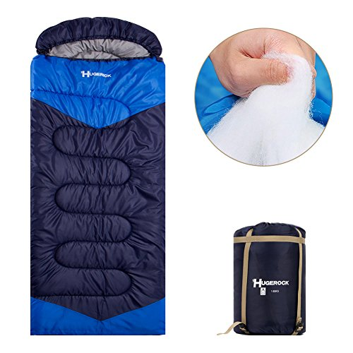 Hugerock Sleeping Bags for Adults - for Camping, Hiking, Outdoor, with Compression Sack- 3 Season Blue