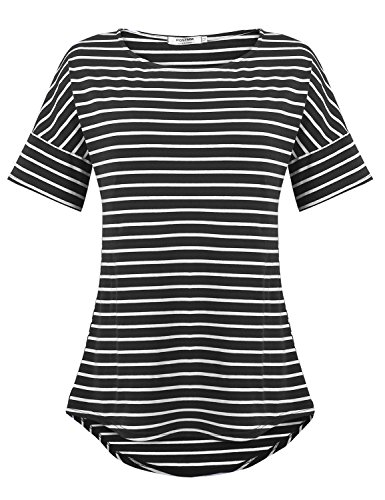 POGTMM Women's Casual Raglan Short Sleeve Patchwork Striped Cotton Shirts Loose T-Shirt Tunic Tops (Black, US - Cotton Top Blouse Black Stripe