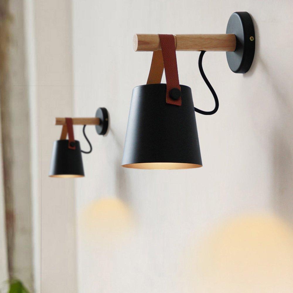 Holzwand Lampen Mini Pers/önlichkeit LED schwarz//wei/ß Eisen Wandbehang Lampe moderne minimalistische Wohnzimmer Studie Schlafzimmer Wandleuchte