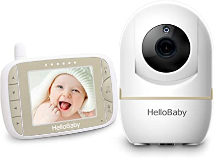 HelloBaby HB65 Video Baby Monitor with Remote Camera Pan-Tilt-Zoom 3.2/'/' Color