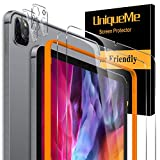 [4 Pack] UniqueMe 2 Pack Screen Protector and 2 Pack Camera Lens Protector for iPad Pro 2020 [ 12.9