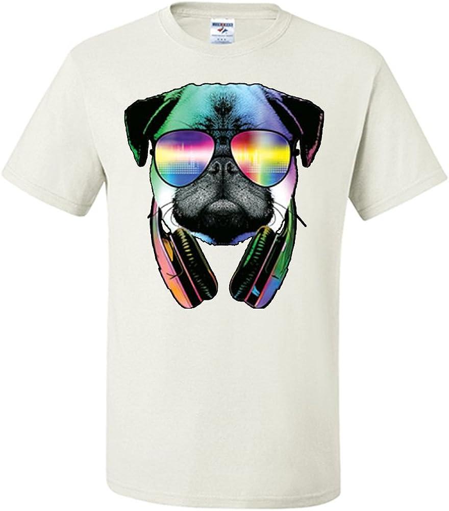 Funny Pug DJ In Sunglasses And Headphones T-Shirt Neon Music Tee Shirt
