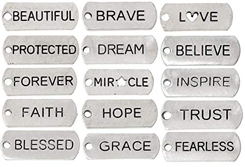 - Inspirational Message Charm Pendants, Silver Tone (100 Random Pieces)