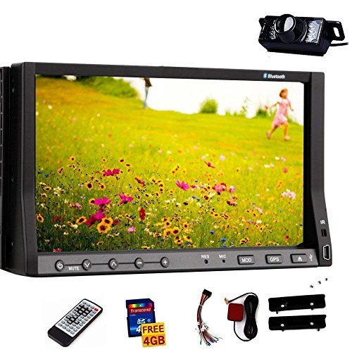 7-Inch Double-DIN Car Stereo Radio Audio Touchscreen LCD Monitor DVD/CD/MP3/MP4/USB/SD/AM/FM/Bluetooth GPS Navigation Car DVD Player With Camera