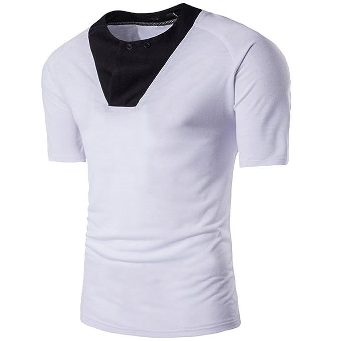 RETUROM -Camisetas Camiseta para Hombre, Camisas de Hombre Manga Corta (M, Blanco