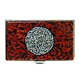 Antique Alive Mother of Pearl Arabian Alphabet Letter Calligraphy Design Red Business Credit Card Holder Wallet (B104)