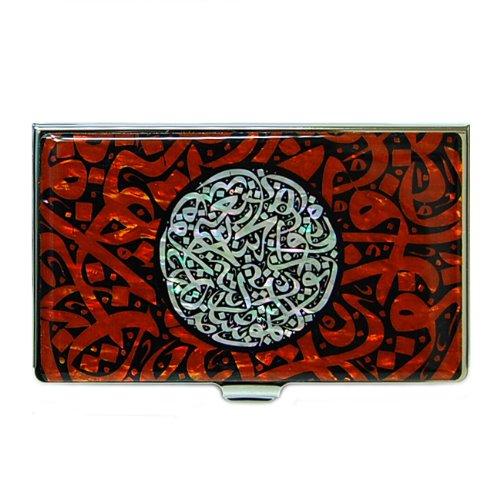 Antique Alive Mother of Pearl Arabian Alphabet Letter Calligraphy Design Red Business Credit Card Holder Wallet (B104) by Antique Alive