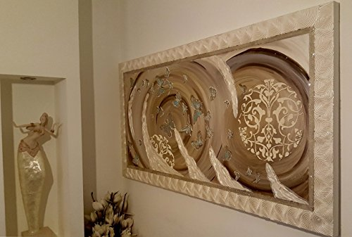 Original abstract oil painting, metallic champagne pearl butterfly