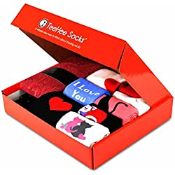 TeeHee Valentine's Day Gift Box 12 Pairs of Socks for Women (S/M, Valentine's Day)