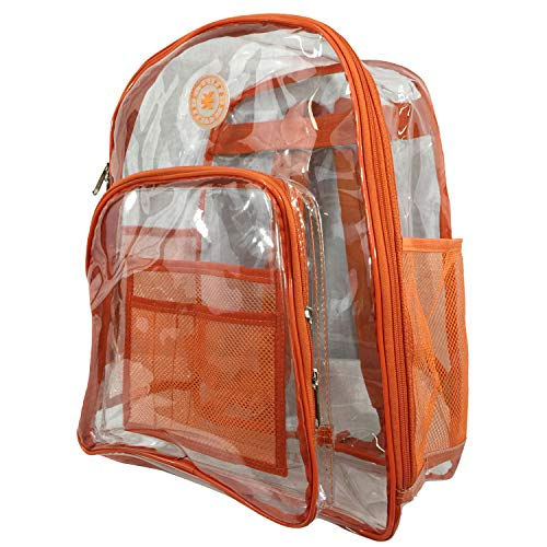 Heavy Duty Clear Backpack See Through PVC Stadium Security Transparent Workbag | Orange (Best High School Stadiums)
