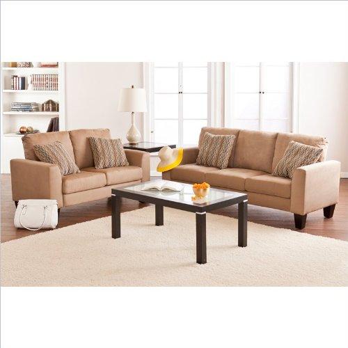 Southern Enterprises Carlton 2 Piece Sofa Set in Mocha Microfiber