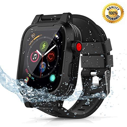 Waterproof Apple Watch 4 case - 44mm Waterproof iWatch 4 Case Waterproof Apple Watch Series 4 Case iWatch Series 4 44mm Waterproof Case for Apple Watch Series 4 Case Band Black for Men Women Girls