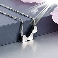 Fashion Stainless steel Women Jewelry Three Heart Charms Pendant Necklace New Gold