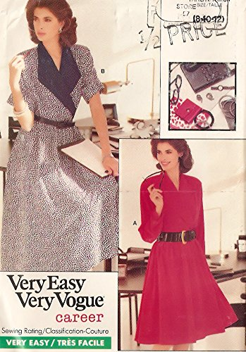 Vogue 1980s vintage sewing pattern 7149 dolman sleeve dress - Size ()