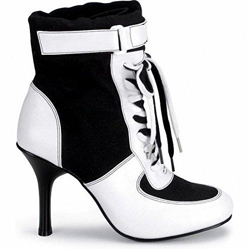 Funtasma REFEREE-125 womens Black Canvas-White Polyurethane Boots Size - 6 (Black Referee Boots)
