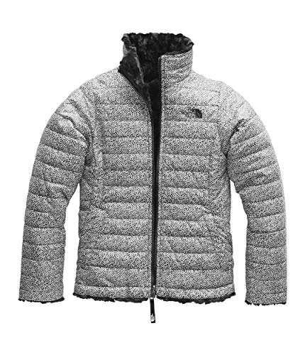 The North Face Girls Reversible Mossbud Swirl Jacket, White Mini Dot Print - -