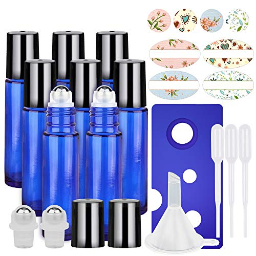 8 Pack, HwaShin 10 ml Cobalt Blue Glass Roll on Bottles, Essential Oil Roller Bottles with Stainless Steel Roller Balls(1 Opener, 1 Funnel, 3 Droppers,2 Extra Roller Balls & 12 - Bottles Perfume Roll