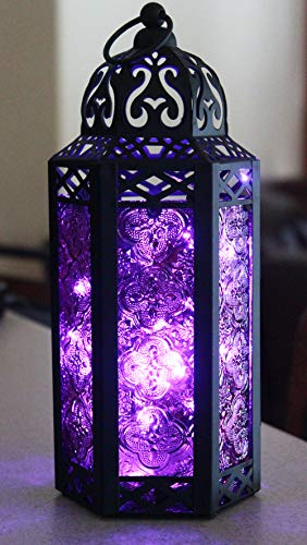 Purple Glass Moroccan Style Lantern with Optional Matching LED Fairy String Lights