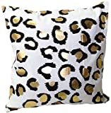 HOMETALEÂ Leopard Print Gold Foil Print Decorative Throw Pillow COVER 18'' Gold White