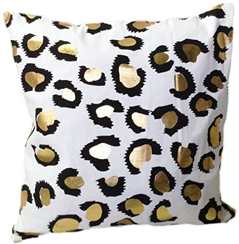 HOMETALEÂ Leopard Print Gold Foil Print Decorative Throw Pillow COVER 18
