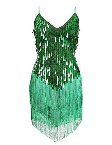 Country Style Dance Costumes (Blingstory Sparkling V-neck Fringe Salsa Skating Ballroom Tassel Sequins Latin Dance Dress Built in Bra (One Size, Green))