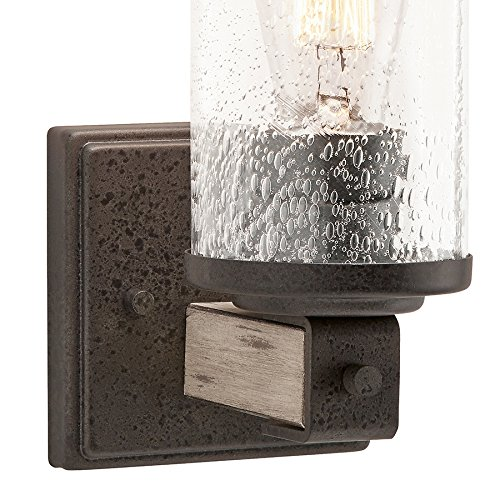 Kichler Lighting Barrington 1-Light Anvil Iron and Driftwood Cylinder Wall Sconce Vanity Light, 8.7'' H
