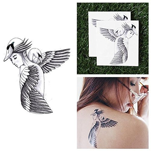Tattify Bird Girl Temporary Tattoo - Swan Lake (Set of 2) - Other Styles Available and Fashionable Temporary Tattoos - Tattoos that are long lasting and (Buy Black Swan Costume)