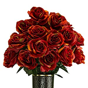 Fire Red Rose Artificial Bouquet, featuring the Stay-In-The-Vase Design(c) Flower Holder (SM2085) 111
