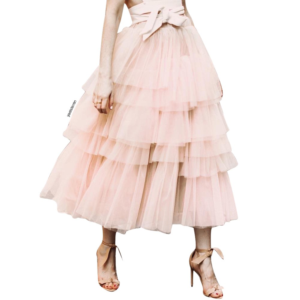 Chicwish Women's Nude Pink Tiered Layered Mesh Ballet Prom Party Tulle Tutu A-line Midi Skirt