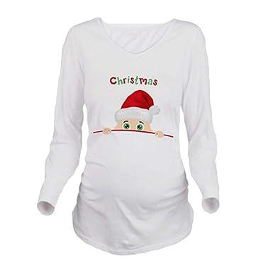 23d7ecd71 Juleya Maternidad Embarazo Ropa de Navidad Tees Divertidos Maternidad  Embarazadas Tops Mangas Largas Camiseta Embarazo Camisa Ropa  Amazon.es   Ropa y ...