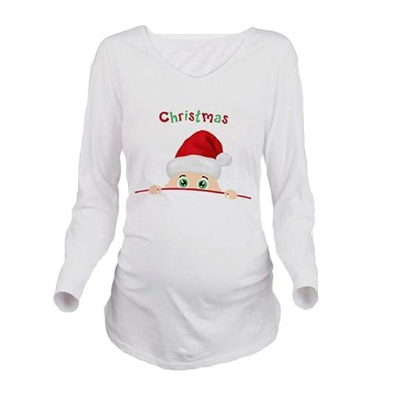 MEIHAOWEI 1ra Camiseta Maternidad Manga Larga Navidad Camisetas Manga Larga Embarazo Navidad: Amazon.es: Ropa y accesorios