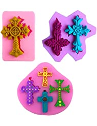 Mity Rain Cross Shape Cake Fondant Mold,Cupcake Decorating Tools Clay Fimo Mold Candy Silicone Mold Cupcake Toppers Chocolate Mold