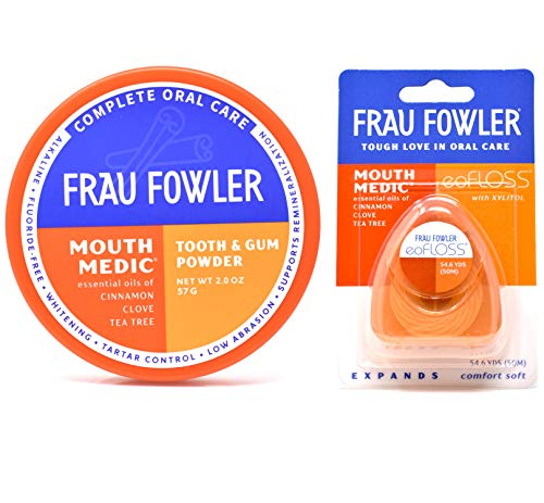 Eco Dent Daily Care - Frau Fowler Tooth Powder and eoFLOSS  Value Pack in Mouth Medic for remineralizing and whitening teeth 2oz / 55 yards