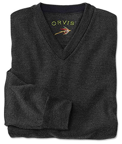 Orvis Merino Wool V-neck Sweater, Charcoal, Large -