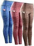 Neleus Tummy Control High Waist Workout Running Leggings for Women,9033,Yoga Pant 3 Pack,Blue,Red,Brown,S,EU M