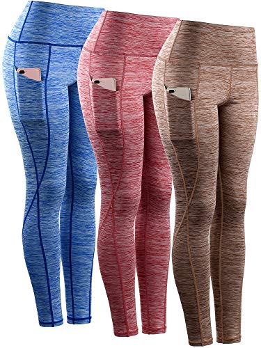 Neleus Tummy Control High Waist Workout Running Leggings for Women,9033,Yoga Pant 3 Pack,Blue,Red,Brown,L,EU XL