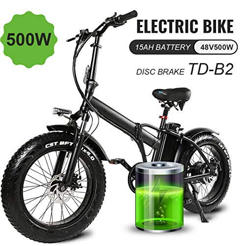 Martes Bicicleta eléctrica plegable Fat Tire 20 4″ con 48V 500W 15Ah Batería de iones de litio, City Mountain Bicycle Booster 100-120KM