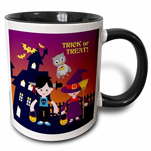3dRose Belinha Fernandes - Halloween Celebration - Trick or treat message with owl and kids dressed up in halloween costumes - 15oz Two-Tone Black Mug -