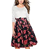 oxiuly Women's 3/4 Sleeve Patchwork Floral...