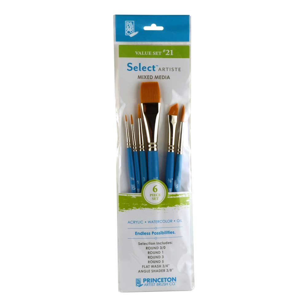 Princeton Select Artiste, Mixed-Media Brushes for Acrylic, Oil, Watercolor Series 3750, 6 Piece Value Set 121