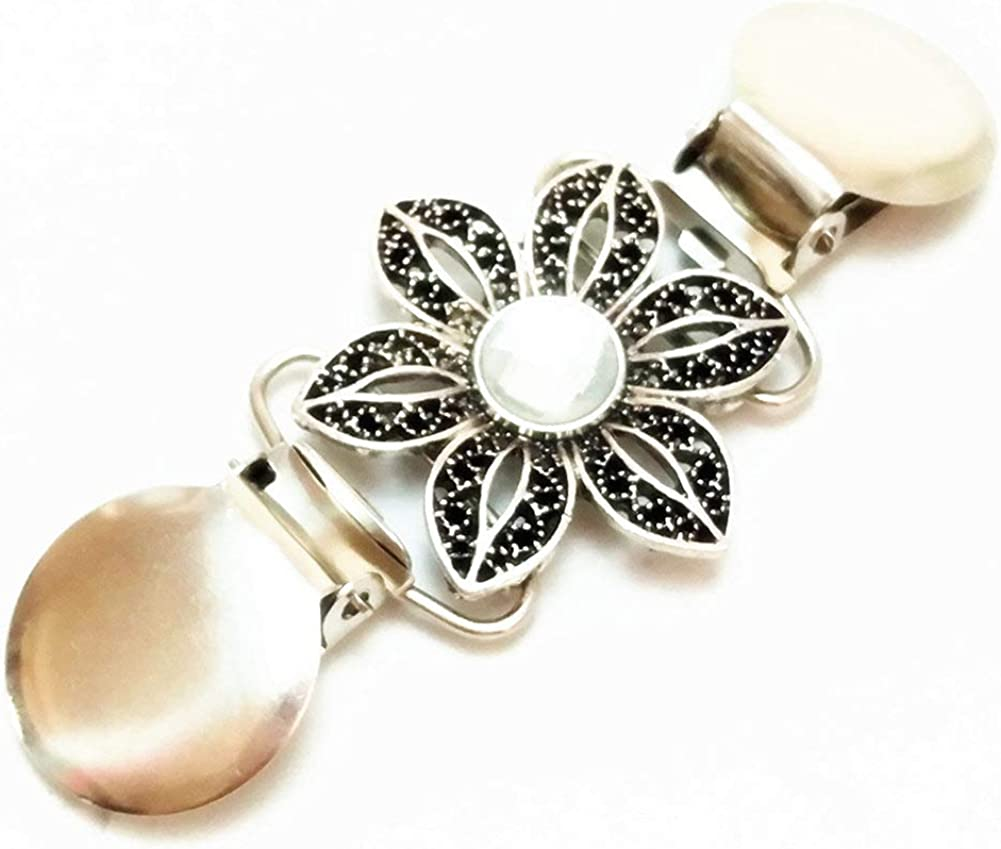 Filigree Flower Sweater Clip Antiqued Silver Crystal Stone Cardigan Cinch Clip Shawl Pin